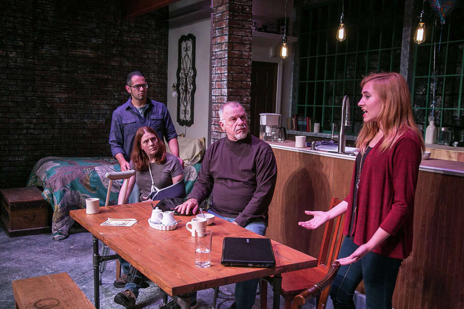 """Times Stands Still"" opens at TheatreWorks New Milford on Friday, July 10. Cast includes Aaron Kaplan as James, left, Alicia Dempster as Sarah, Will Jeffries as Richard and Erin Shaughnessy as Mandy. Photo: Rich Pettibone\Contributed Photo / The News-Times Contributed"
