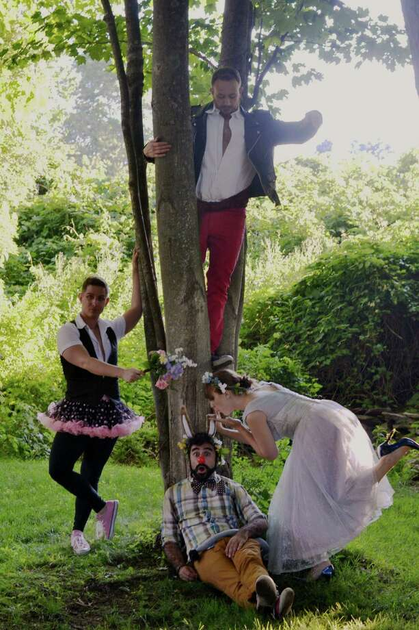 """A Midsummer Night's Dream"" starts free outdoor performances in Shelton July 9. The cast includes David Hergistad (in tree) as Oberon, and Matt Densky as Puck, left, Tom Simonetti as Bottom and Jessica Breda as Titania. Photo: Contributed Photo / Connecticut Post Contributed"