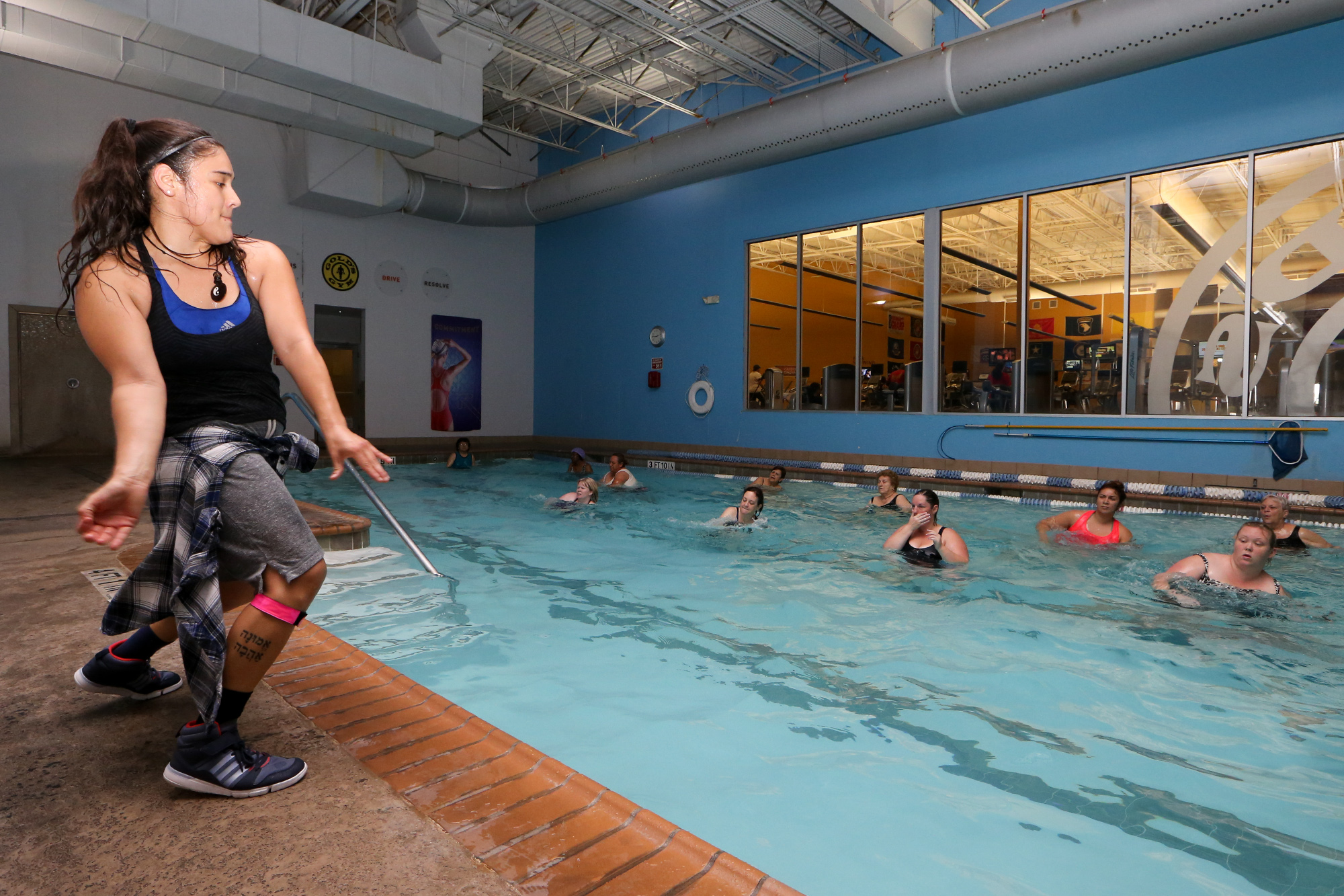 The pool is a good place to work out for Fitness first gyms with swimming pools
