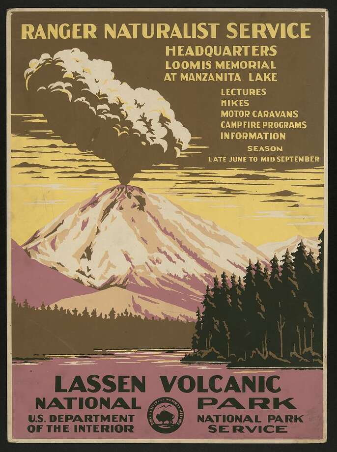 A poster created for the National Park Service advertising lectures, hikes and campfire programs at Manzanita Lake. In case you were wondering, Lassen Peak was not erupting; it was just a rather dramatic artistic choice. Photo: Library Of Congress/Courtesy
