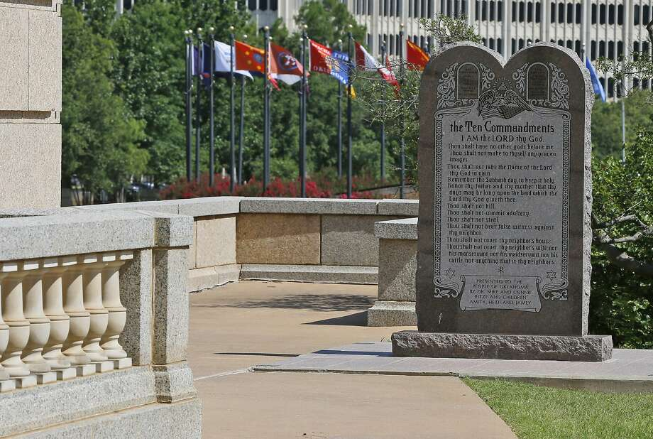 The Ten Commandments monument has inflamed debate since it was installed at the Oklahoma state Capitol in 2012. Photo: Sue Ogrocki, Associated Press