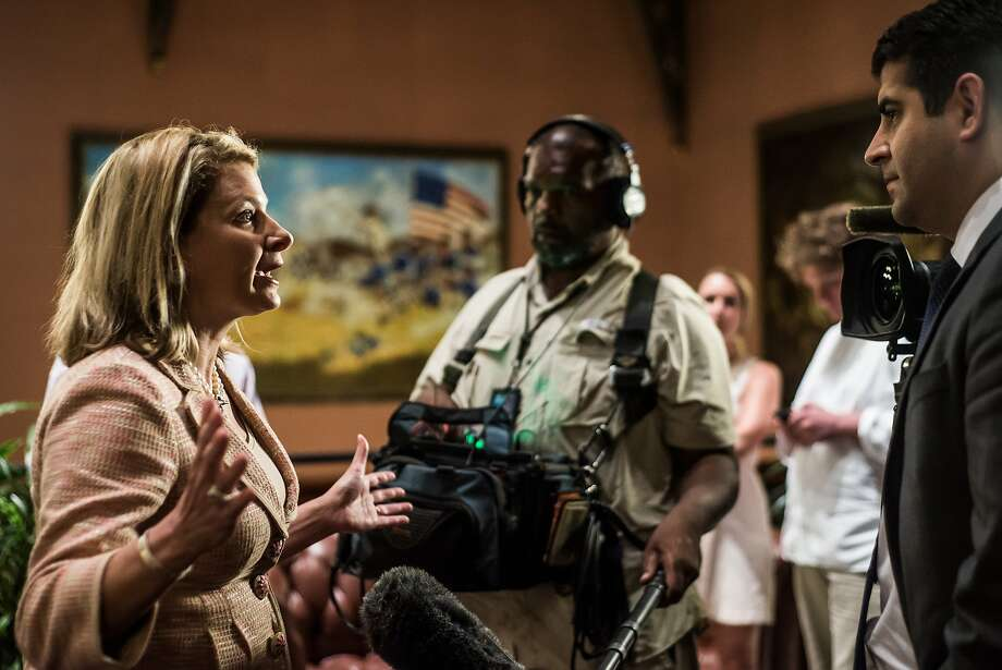 State Rep. Jenny Anderson Horne, a descendant of Confederate President Jefferson Davis, talks to the media. Photo: Sean Rayford, Getty Images
