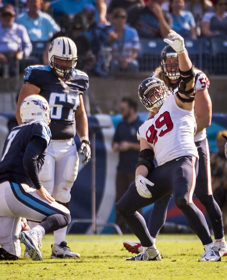 """J.J. Watt vs. Zach MettenbergerA rookie QB's game-day selfie launched a feud when Watt mocked Mettenberger with a selfie-taking sack celebration last October. He then remarked that """"this is the NFL, not high school."""" Mettenberger took months to respond before referencing Watt wearing a Texans letterman jacket before a 2012 loss at New England and dubbing Watt's behavior """"high schoolish."""" Never one to let something slide, Watt responded via Twitter, saying """"a lion doesn't concern himself with the opinions of a sheep."""" Photo: Smiley N. Pool, Houston Chronicle"""