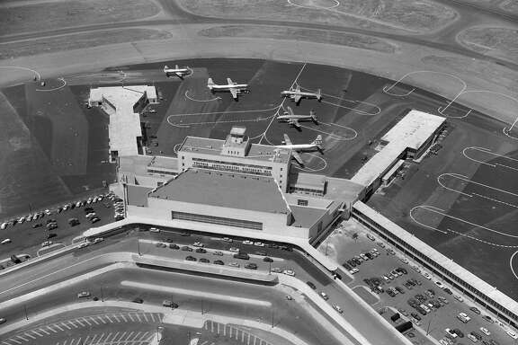 San Francisco International Airport grand opening August 27-29 1954 over 200,000 visitors visited on Sunday August 28, 1954,   Photo ran 08/27/1954, Special section