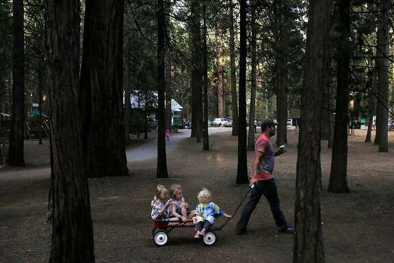 From left, Ava Goldenberg, 5, Kaitlyn Cleaveland, 4, and Joseph Goldenberg, 2, are pulled to an evening movie by David Goldenberg July 8, 2015 at Mather Family Camp in Groveland, Calif. The California State Water Board's curtailment notice served to San Francisco Public Utilities Commission could affect the water supply at the popular San Francisco family summer camp.