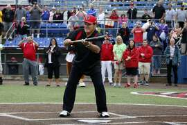 Pete Rose takes a ceremonial first at-bat before before a Frontier League baseball game between the Washington Wild Things and the Lake Erie Crushers in Washington, Pa, Tuesday, June 30, 2015. Rose coach each baseline for a half inning for the the Wild Things after which fans could pay for an autograph and to have their picture take with him. (AP Photo/Gene J. Puskar)