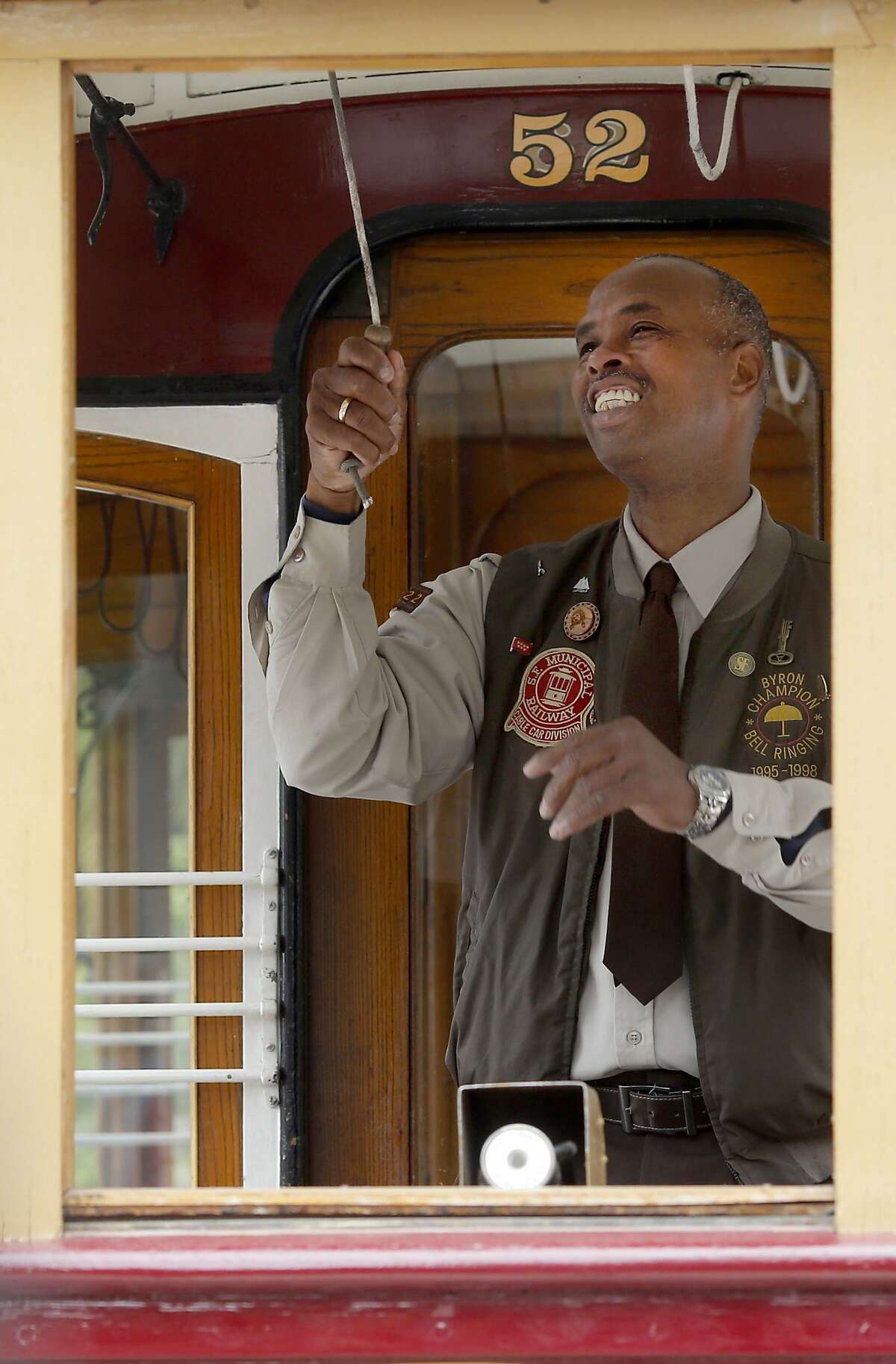 Byron Cobb used quick wrist strokes to get into the finals and eventually win the contest Thursday July 9, 2015. The 52nd annual Cable Car Bell Ringing contest was held in Union Square in San Francisco, Calif. For the first time ever there was a tie for the winner which resulted in a 30 second runoff which was won by Byron Cobb.