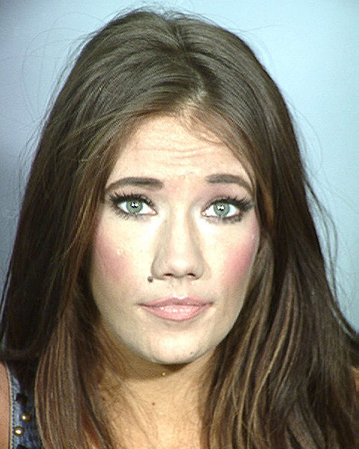 In this handout photo provided by the Las Vegas Metropolitan Police Department, former Miss Nevada USA Katherine Rees is seen in a police booking photo after her arrest on charges including trafficking in a controlled substance, sale of a controlled substance and conspiracy to violate the uniform controlled substances act July 8, 2015 in Las Vegas, Nevada. According to court papers filed Monday Rees allegedly sold methamphetamine in September of last year and was found with methamphetamines at a later date. (Photo by Las Vegas Metropolitan Police Department via Getty Images)