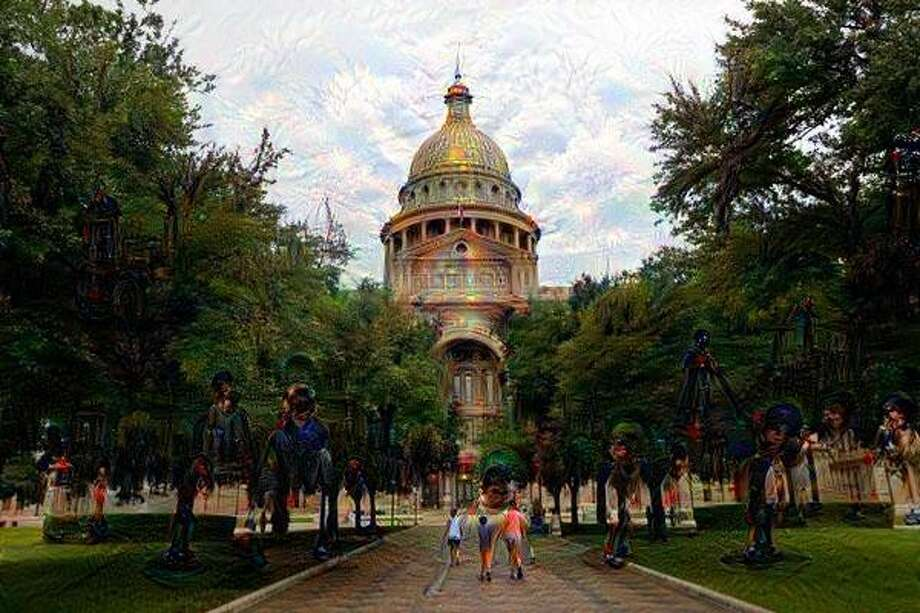 A photo of the Texas state capitol building in Austin was run through the Google DeepDream system. (Original image by Gary Coronado, Houston Chronicle) Photo: Houston Chronicle