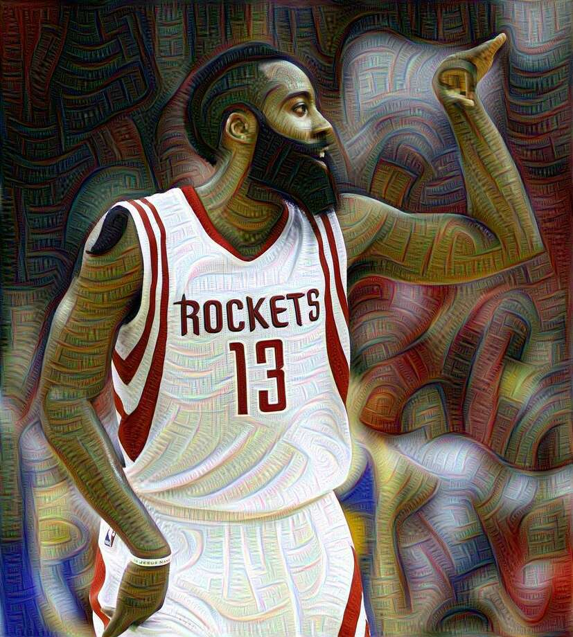This image of James Harden during Game 4 of the Western Conference Finals was run through Google's DeepDream system. (Original photo by James Nielsen, Houston Chronicle) Photo: Houston Chronicle