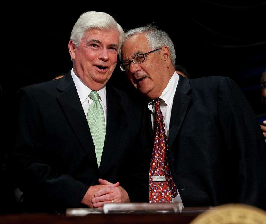 FILE -- Rep. Christopher Dodd (D-Conn.), left, and Rep. Barney Frank (D-Mass.) in Washington, July 21, 2010. Frank says getting the Dodd-Frank Act passed was his hardest-fought battle in more than 30 years in Congress. (Doug Mills/The New York Times) Photo: DOUG MILLS / New York Times / NYTNS