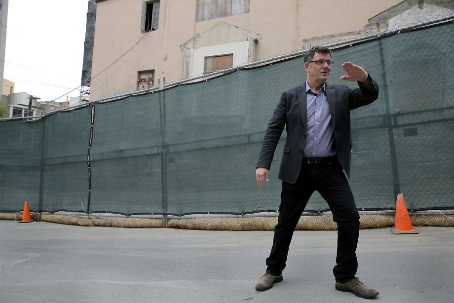 Seth Kilbourn, executive director of Openhouse, describes a future housing development that will have units targeting low-income LGBT seniors in the Castro neighborhood of San Francisco, California, on Thursday, July 9, 2015. Photo: Connor Radnovich, The Chronicle