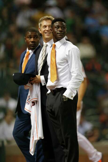 Daz Cameron, right, became the Astros' ace in the hole during the 2015 draft. They lured the outfielder from a college commitment with a $4 million bonus. Photo: Karen Warren, Staff / © 2015 Houston Chronicle