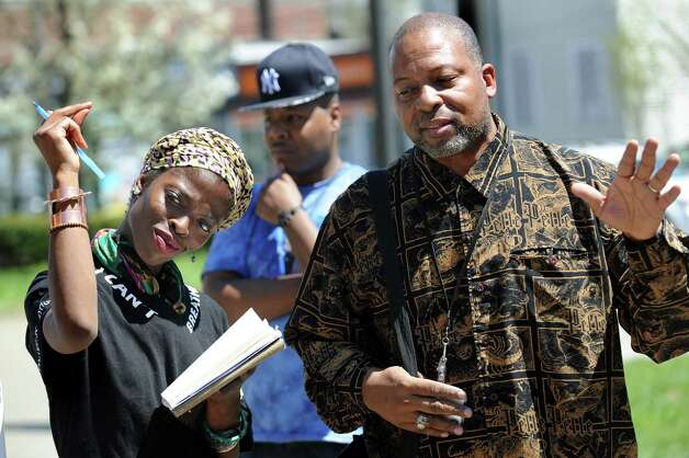 Albany County Legislator Merton Simpson, right, during a rally for social justice on Saturday, May 2, 2015, at the Albany Police Headquarters in Albany, N.Y. (Cindy Schultz / Times Union) ORG XMIT: MER2015050216455321 ORG XMIT: MER2015060217084031 Photo: Cindy Schultz / 00031677A