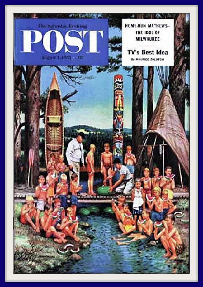 Camp Mahackeno, the day camp of the Westport Weston Family YMCA, as depicted on a 1953 cover of the Saturday Evening Post magazine by local artist Stevan Dohanos. Photo: Contributed Photo / Westport News
