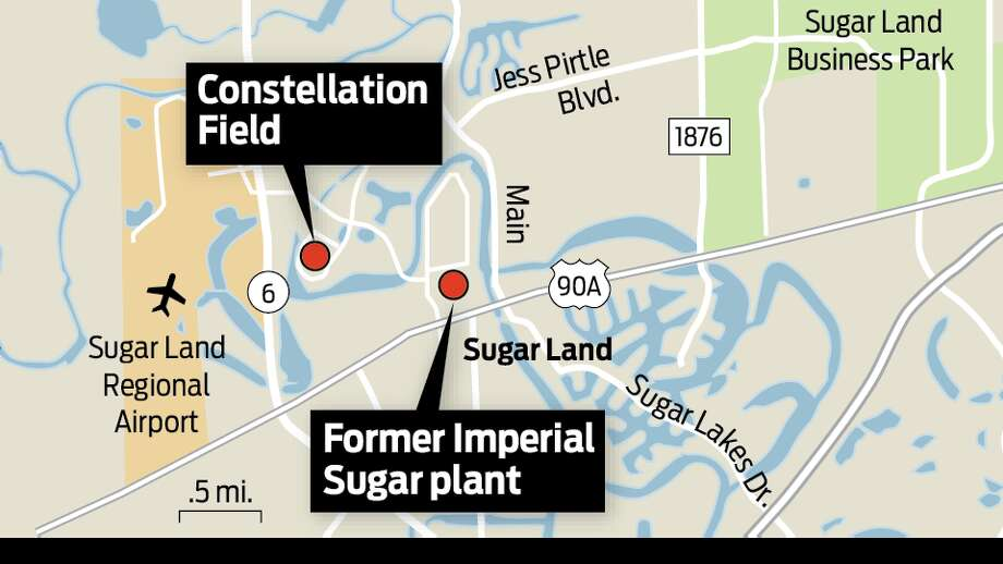 Spotter map for Sugar Land, including old Imperial Sugar plant and Constellation Field