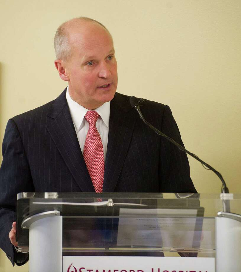 Brian Grissler, CEO of Stamford Hospital, speaks in October 2014 at an event commemorating a $20 million donation to the hospital by the Greenwich, Conn.-based Steven and Alexandra Cohen Foundation. Photo: Lindsay Perry / Lindsay Perry / Stamford Advocate