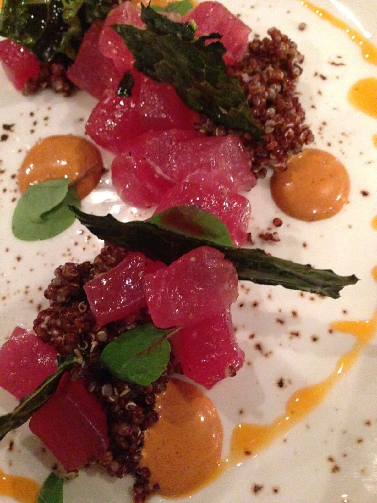 Tuna tartare with red quinoa, harissa oil, and Tuscan kale at Saltair Seafood Kitchen, 3029 Kirby. (Photo: Greg Morago)