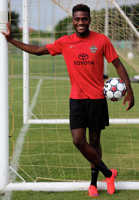 San Antonio Scorpions defender Monbo Bokar escaped civil war in Liberia with family members to meet his father in America. Bokar is pictured at practice at Blossom Athletic Center on July 2, 2015. Photo: John Davenport /San Antonio Express-News / ©San Antonio Express-News/John Davenport