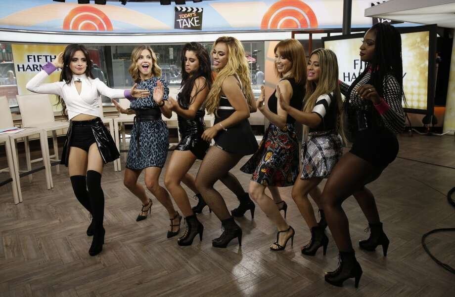 "TODAY -- S.A.'s Ally Brooke Hernandez (second from right) and Fifth Harmony give Natalie Morales and Ellie Kemper  dance lessons  on NBC News' ""Today"" show Friday. -- (Photo by: Peter Kramer/NBC) Photo: NBC NewsWire, Peter Kramer/NBC"