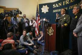 Sheriff Ross Mirkarimi speaks during a press conference at San Francisco City Hall on Friday, July 10, 2015 in San Francisco, Calif.