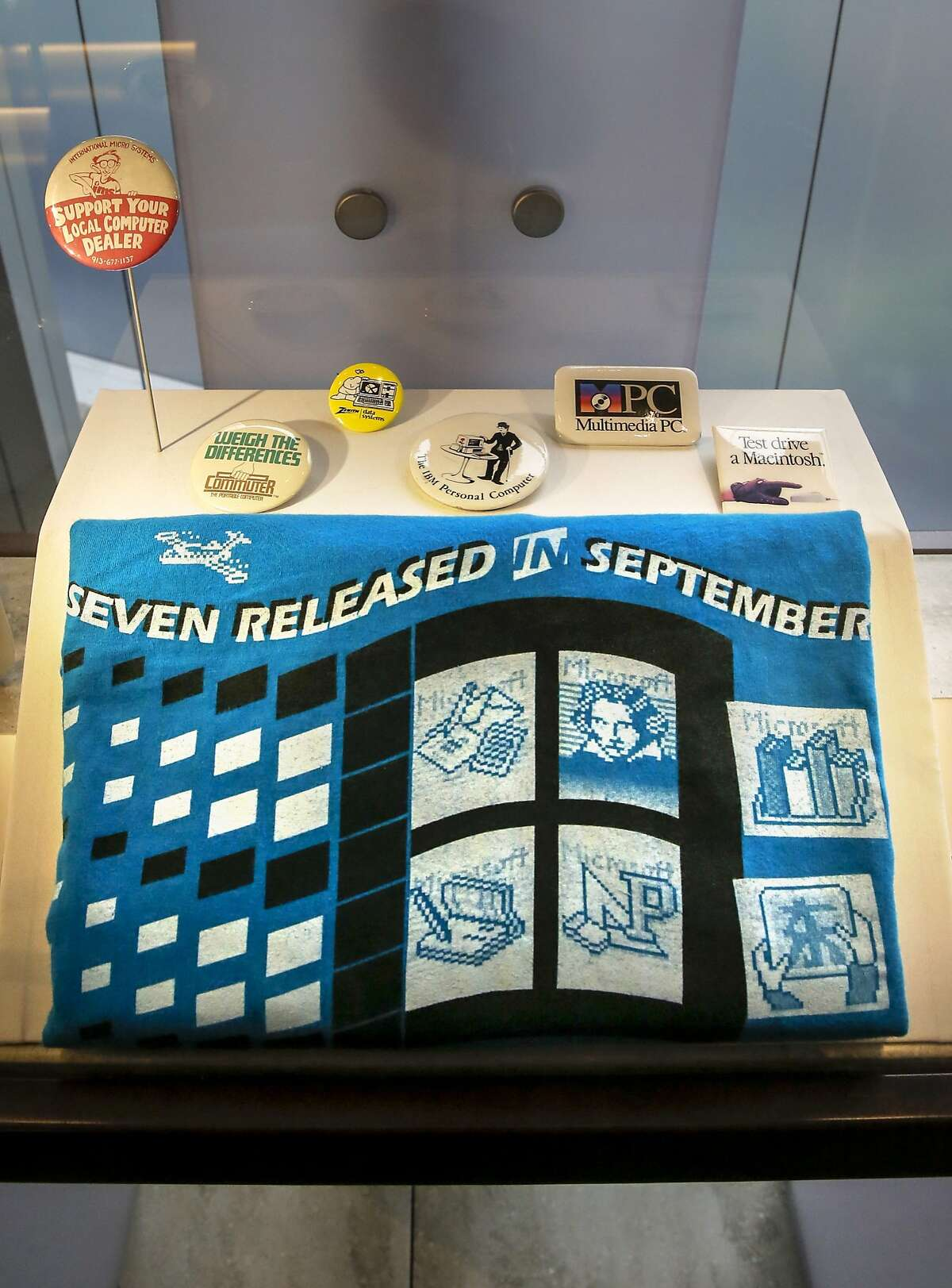 Mircosoft gave their employees this Super Team tee shirt back in 1999, which is on display at the Computer History Museum in Mountain View, Calif., on Fri. July 10, 2015.