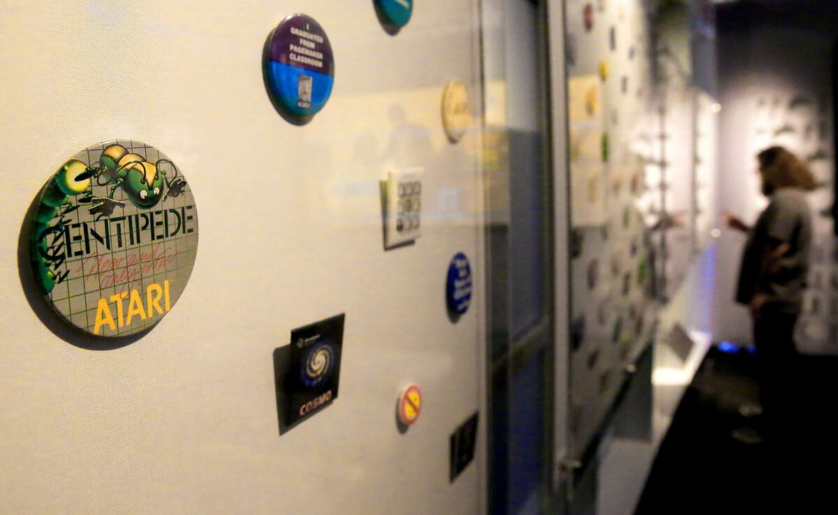 An Atari Centipede button from 1983-84 is on display at the Computer History Museum in Mountain View.