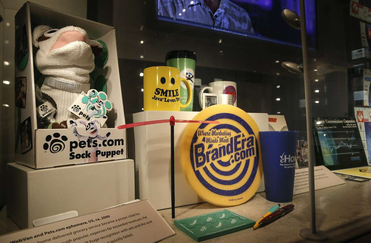 Several promotional items from internet companies are displayed at the Computer History Museum in Mountain View, Calif., on Fri. July 10, 2015.