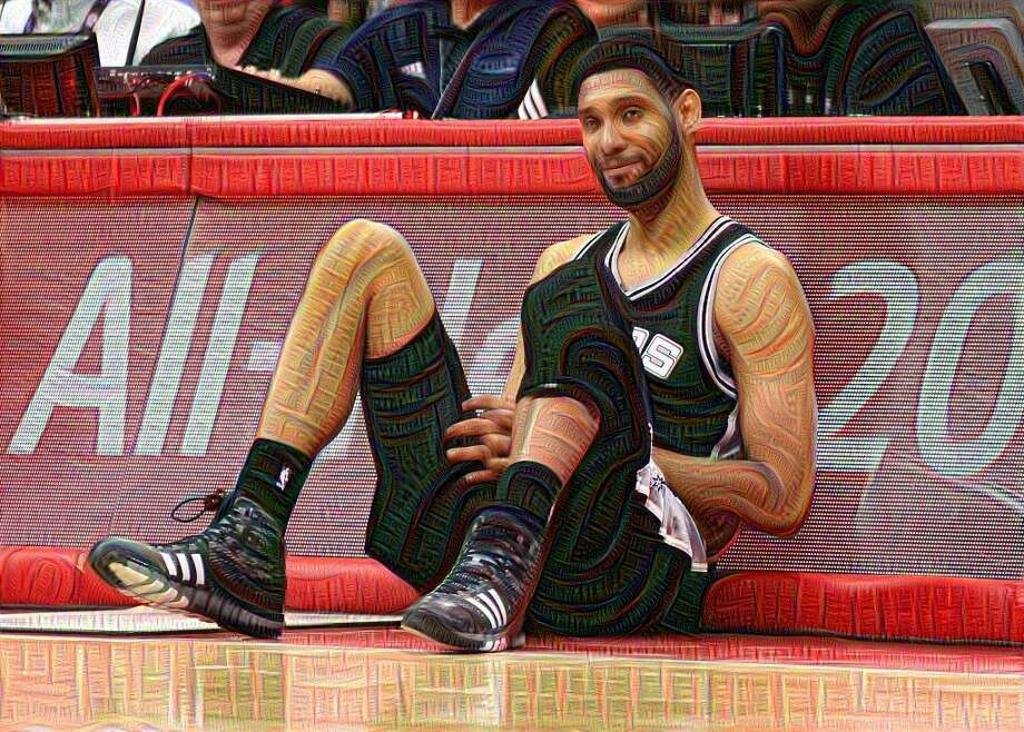 A grinning Tim Duncan run through the Google DeepDream system. Photo: SAEN
