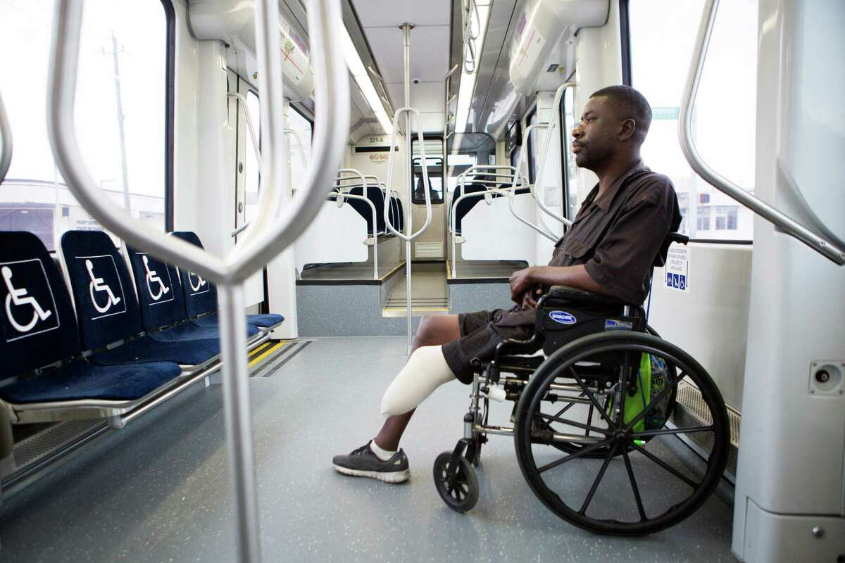 Troy Randle takes the MetroRail green line everyday. He believes it would be better for himself and the community if the green line would travel all the way to Magnolia station. Friday, July 10, 2015, in Houston.