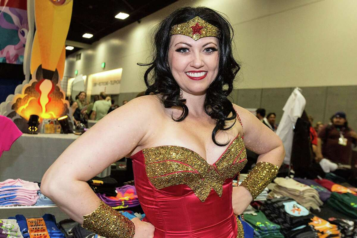 Actress/model Bernadette Bentley, dressed as burlesque Wonder Woman, attends Preview Night at San Diego Comic-Con
