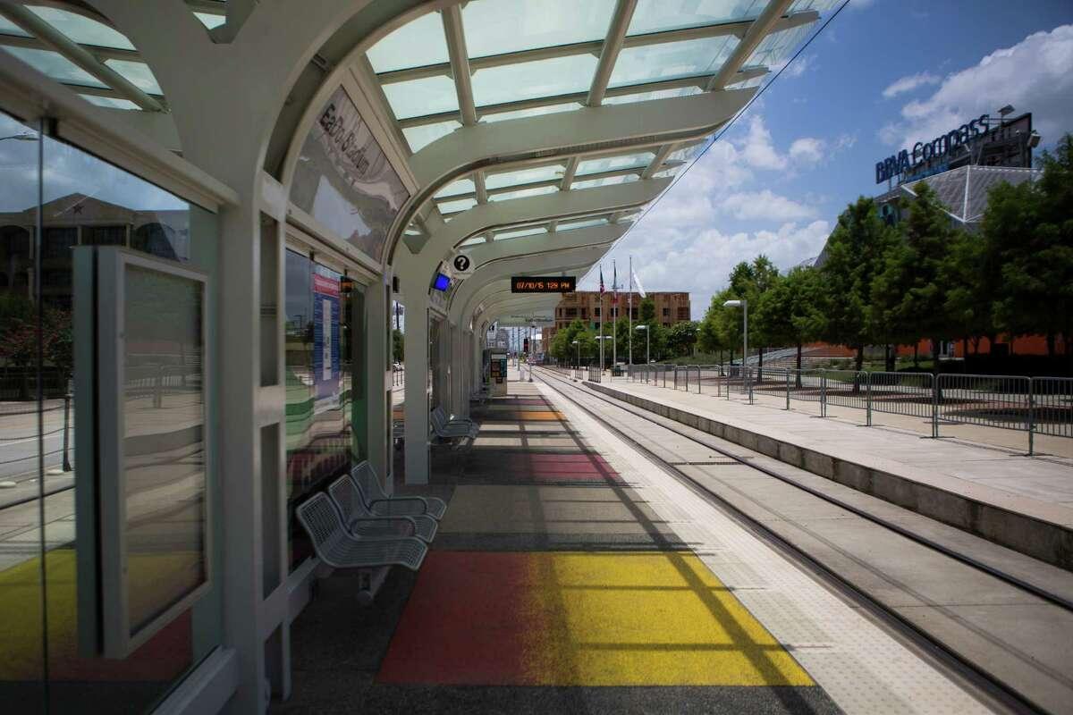 Metro's EADO/Stadium station sits empty around 1:00 p.m. on July 10, 2015.