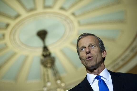 Sen.John Thune, R-S.D., speaks with reporters following a policy luncheon at the U.S. Capitol in Washington, Tuesday, June 23, 2015. (AP Photo/Cliff Owen)