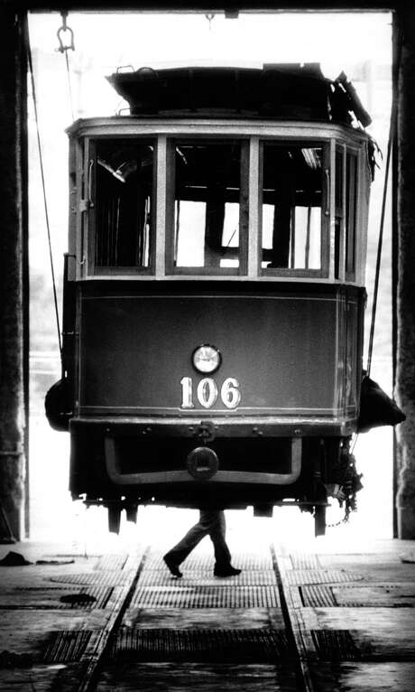Tram 106 from Leningrad arrives at the Muni Railway's Metro shop at Geneva and San Jose avenues to become part of the San Francisco Historic Trolley fleet in 1986. Photo: Tom Levy / Tom Levy / The Chronicle 1986 / ONLINE_YES