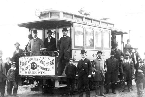 1892: Opening day of the Metropolitan Railroad in 1892. This was one of the earliest electric streetcars in San Francisco.