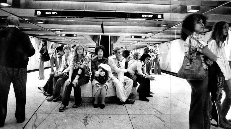 BART riders are waiting for trains during a sick-out delay at the Embarcadero Street station in the late 1970s. Photo: Stephanie Maze / The Chronicle / ONLINE_YES