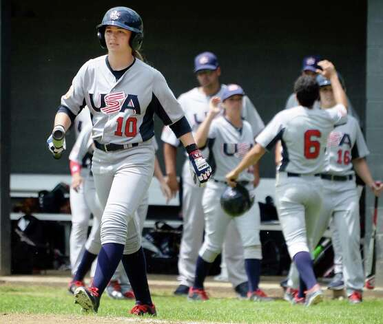 USA Baseball WomenOs National Team's #10 Sarah Hudek strides to the plate during the opening game of the Cooperstown WomenOs Baseball Classic against JapanOs Madonna Stars Friday July 10, 2015 at SUNY in Cobleskill, NY.   (John Carl D'Annibale / Times Union) Photo: John Carl D'Annibale / 00032552A