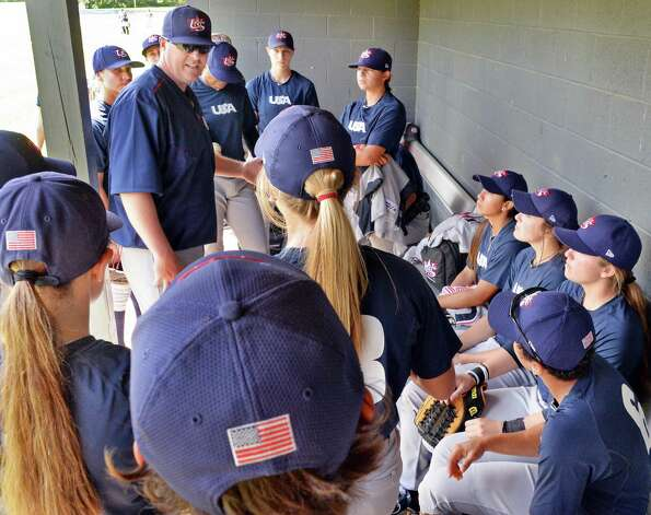 USA Baseball WomenOs National Team manager Jonathan Pollard talks to his players before the start of the opening game of the Cooperstown WomenOs Baseball Classic against JapanOs Madonna Stars Friday July 10, 2015 at SUNY in Cobleskill, NY.   (John Carl D'Annibale / Times Union) Photo: John Carl D'Annibale / 00032552A
