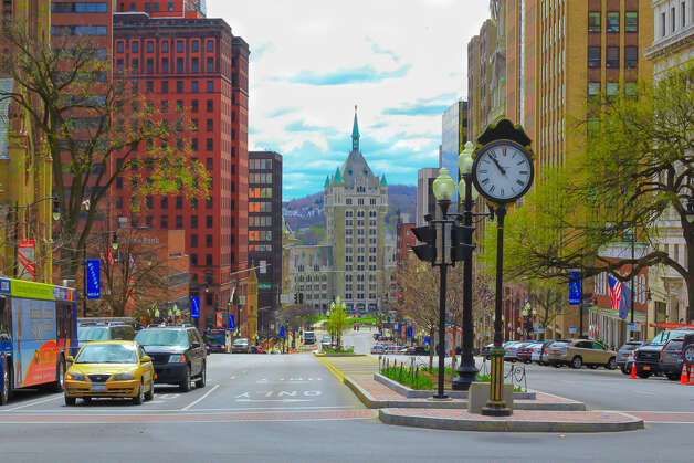 """This view from the top of State Street in Albany """"really caught my eye,"""" Olawale Lawal, a Staten Island resident who was a student in the Albany area. """"That picture was taken because of my love for architectural design ... I was just fortunate enough to be able to capture the shot when business was moving,"""" he said (Olawale Lawal)"""