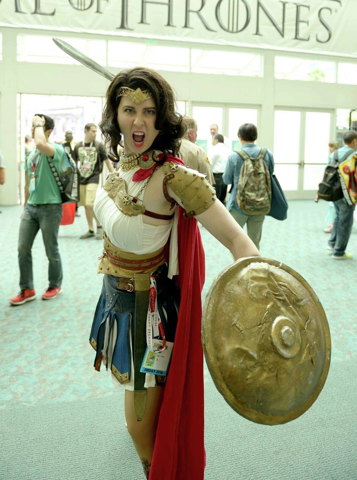 Guests in cosplay attend Comic-Con International 2015 on July 10, 2015 in San Diego, California.