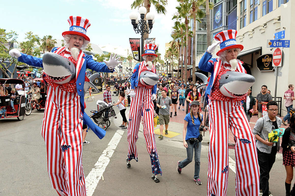 SAN DIEGO, CA - JULY 10: Guests in cosplay attend Comic-Con International 2015 on July 10, 2015 in San Diego, California.