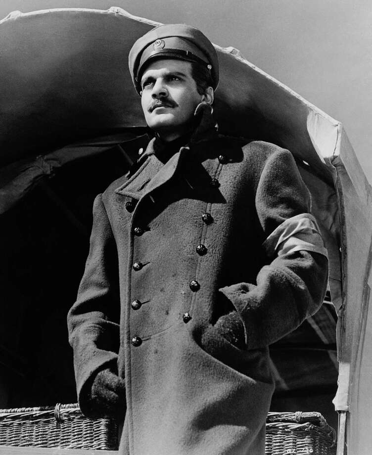 "Omar Sharif, above, in 2003, and in his role as Dr. Zhivago in 1965.  Sharif - a prominent bridge player -was philosophical about his career. In his later years, he chose roles carefully: ""I decided that I wanted to keep some dignity in my old age."" Photo: Anonymous, HONS / METRO-GOLDWYN-MAYER"
