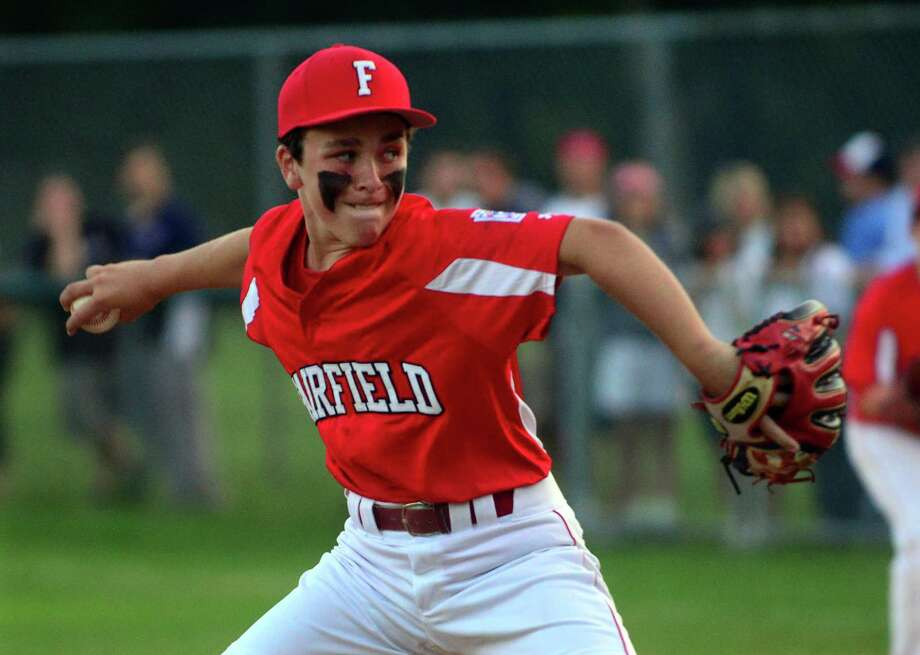 Fairfield American's Charlie Mount pitches, during District 2 Little League Tournament action against Westport at Unity Park in Trumbull, Conn., on Friday July 10, 2015. Photo: Christian Abraham / Hearst Connecticut Media / Connecticut Post