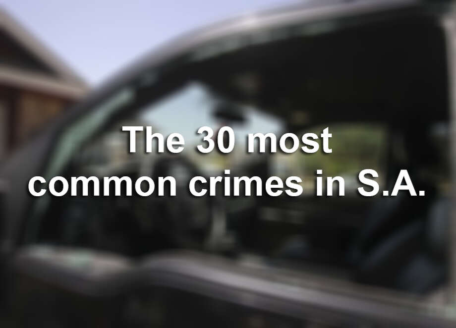 Data from the San Antonio Police Department show the 30 most common criminal offenses for which individuals were arrested in 2014.