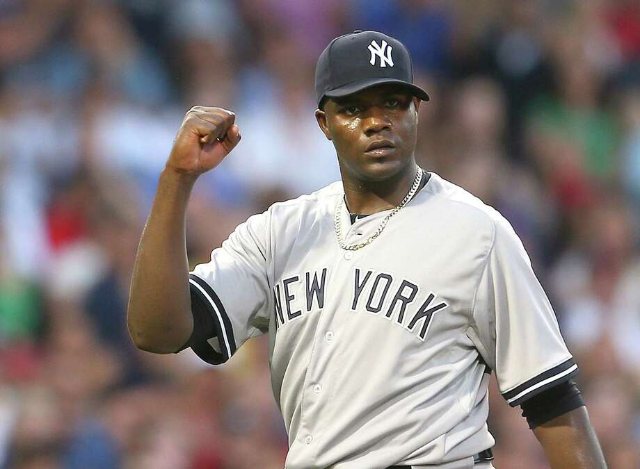 BOSTON, MA - JULY 10: Michael Pineda #35 of the New York Yankees reacts after a double play against the Boston Red Sox in the third inning at Fenway Park on July 10, 2015 in Boston, Massachusetts.  (Photo by Jim Rogash/Getty Images) ORG XMIT: 538586527 Photo: Jim Rogash / 2015 Getty Images