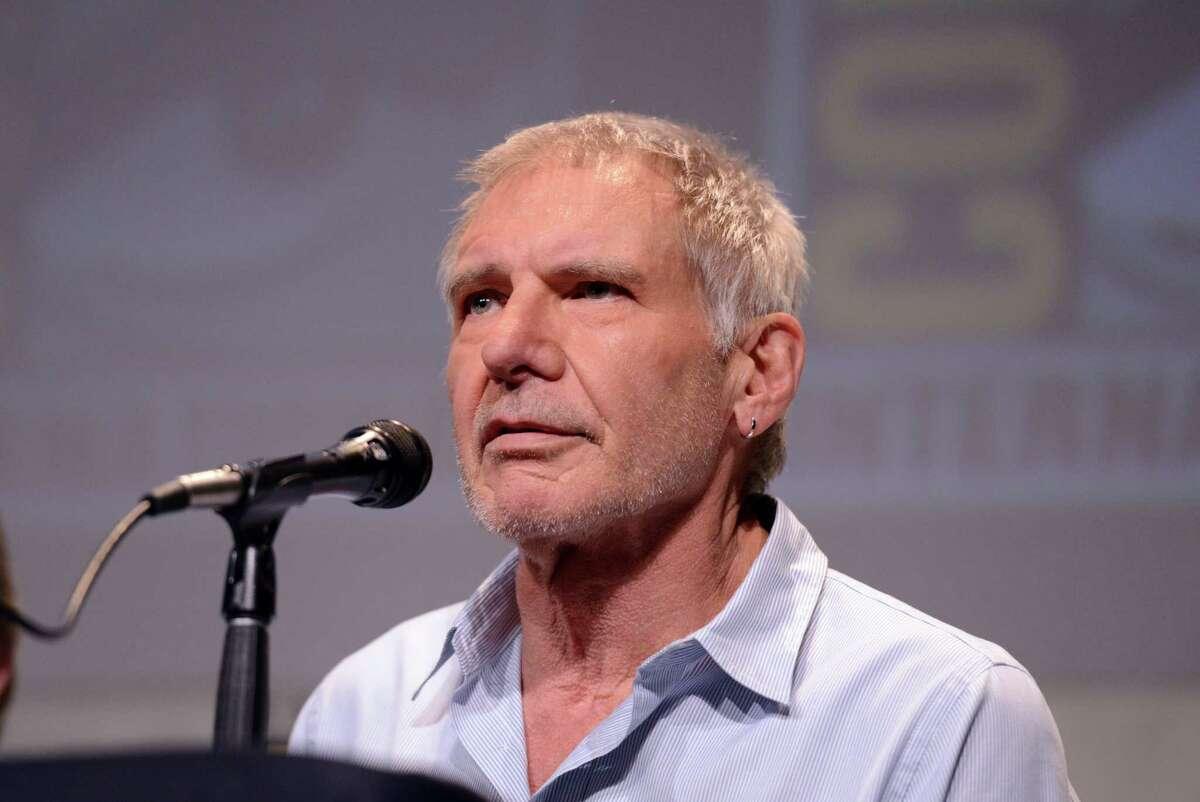 Actor Harrison Ford speaks onstage.