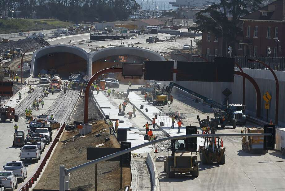 Construction crews race against the clock to realign the Presidio Parkway project into its permanent configuration in San Francisco, Calif. on Saturday, July 11, 2015. Photo: Paul Chinn, The Chronicle