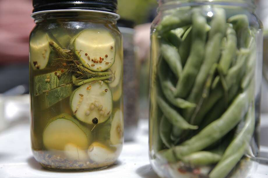 Pickling jars of vegetables during the Happy Girl Kitchen Co. pickling workshop, in Oakland, Calif., on Sat. July 11, 2015. Photo: Michael Macor, The Chronicle