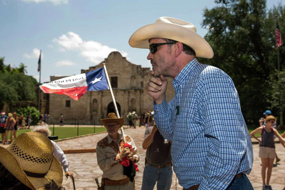 David Watts, Jr. leads a protest at Alamo Plaza in San Antonio, Texas against the Alamo's recent designation as a World Heritage Site by the United Nations Educational, Scientific and Cultural Organization.