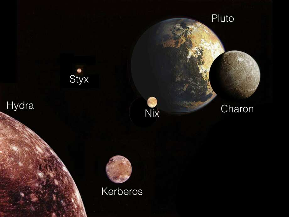 In an illustration provided by NASA and the SETI Institute, Pluto and its moons, seen from the perspective of Hydra, the outermost of the five. New research has offered a more precise look at the wobbly orbit of Nix, which is jostled by the competing gravitational pulls of Pluto and Charon — so close in mass that some scientists regard them as a double planet. (NASA/SETI Institute via The New York Times) -- FOR EDITORIAL USE ONLY. Photo: NASA/SETI INSTITUTE, HO / New York Times / NASA/SETI INSTITUTE